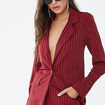 Pinstriped Button-Front Blazer