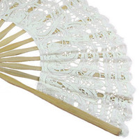 Best Selling Handmade Cotton Lace Folding Hand Fan for Party Bridal Wedding Decoration ( Beige)