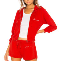 RE/DONE Chain Stitch Zip Hoodie in Red