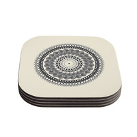 "Famenxt ""Black & White Boho Mandala"" Coasters (Set of 4) - Outlet Item"