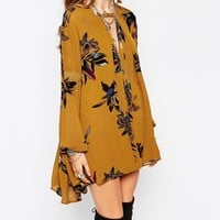 Free People Mini Smock Dress In Oversized Floral Print