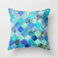 Cobalt Blue, Aqua & Gold Decorative Moroccan Tile Pattern Throw Pillow by Micklyn