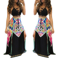 Black Lace-Up Crop Top Ethnic Maxi Skirt Set