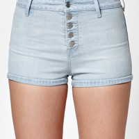 Kendall and Kylie Kris Blue Exposed Button Super High Rise Denim Shorts at PacSun.com