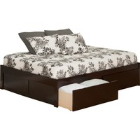 Urban Concord King Size Flat Panel Footboard 2 Sets of Urban Bed Drawers Espresso Finish