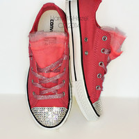 Girls Converse Low top Chucks All Star® in Paradise Pink with 3 colors of tulle and embellished with Swarovski crystal details