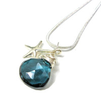 Beach Bridal Necklace Sterling Silver Starfish and Dark Blue Quartz AAA Grade Nautical Ultra Luxe Bridesmaid Necklaces