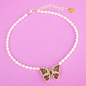 Pearl Butterfly Treasure Necklace