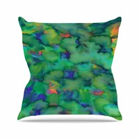 """Miranda Mol """"Dreamy Clouds"""" Green Teal Abstract Fantasy Watercolor Painting Outdoor Throw Pillow"""
