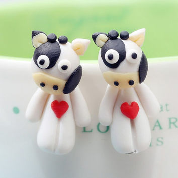 polymer clay earrings super cute Cows color 925 silver not stimulate for Women jewelry