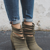 Downtown Denver Booties - Olive