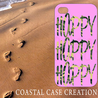 Apple iPhone 4 4G 4S 5G Hard Plastic or Rubebr Cell Phone Case Trendy Stylish Pink Camouflage Happy Happy Happy Duck Dynasty Quote Design