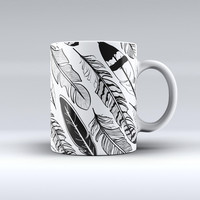 The Vector Black and White Feathers ink-Fuzed Ceramic Coffee Mug
