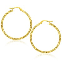 14K Yellow Gold Textured Large Hoop Earrings