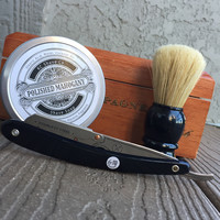 Dominic - The Ultimate Straight Razor Kit with brush and shave soap