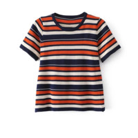 FREE SHIPPING Spring short sleeve knit to render the new color stripe unlined upper garment