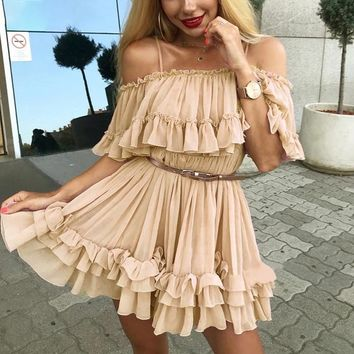 Off shoulder strap chiffon dresses Women ruffle pleated short dress pink Elegant holiday loose beach mini dress