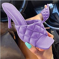 2020 high heels square new spring and summer style stiletto sandals and slippers purple