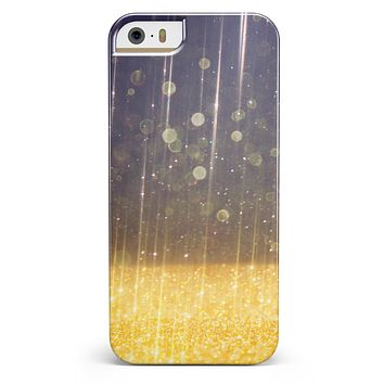 Blue Stratched Streaks with Unfocused Gold Sparkles iPhone 5/5s or SE INK-Fuzed Case