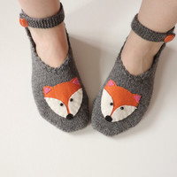Woman Slippers Grey, Hand Knit Turkish Slippers, Turkish Socks, Fox Knitted Slippers