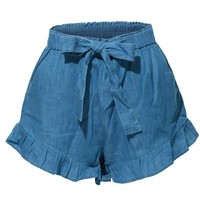 High Waisted Ruffled Denim Tencel Short (CLEARANCE)