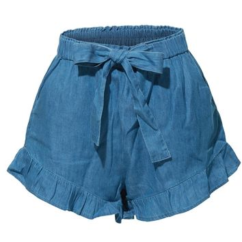 Stretchy High Waisted Ruffled Denim Tencel Short with Pockets (CLEARANCE)