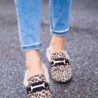 Gazell Leopard Loafer Mules