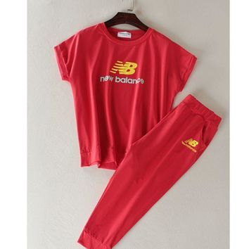 """""""New balance"""" Fashion running sports shorts sleeve show thin T shirt suit Red"""
