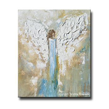 GICLEE PRINT Angel Painting Abstract Guardian Angel Wings Blue Gold White Modern Home Wall Art