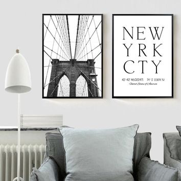 New York City Art Poster ,  Brooklyn Bridge Poster New York Canvas Painting Wall Pictures Art Prints For Home Decoration