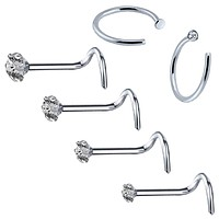 BodyJ4You 6PCS Nose Screw Stud 20G Stainless Steel Nose Hoop Ring Piercing Jewelry (0.8mm)