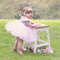 """The """"Angeline"""" Pink Floral Lace Tutu Dress"""