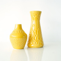 WEST GERMAN POTTERY Set of 2 Vases, Bay Keramik, 547-17, 536-11, Modern Vintage, Bright Sunny Yellow, Textured, 1960s Retro, Made in Germany