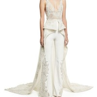 Jonathan Simkhai Collection Web Lace High-Low Skirted Jumpsuit, Ivory