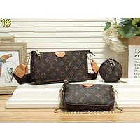 LV Louis Vuitton Popular Women Leather Handbag Tote Shoulder Bag Satchel Wallet Three-Piece 1#