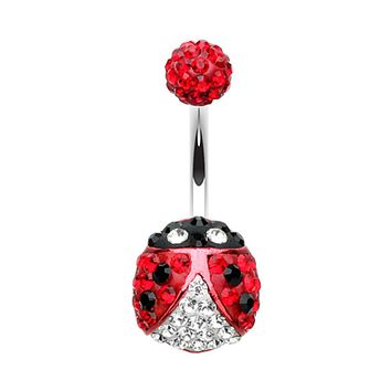 Adorable Lady Bug Multi-Sprinkle Dot Belly Button Ring