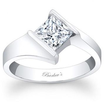 Barkev's Bypass Channel Set Solitaire Princess Cut Diamond Engagement Ring