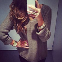 Khaki V Neck Long Sleeve Pullover Knit Sweater