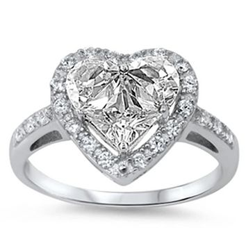 Heart Halo Engagement Ring Cubic Zirconia in Sterling Silver