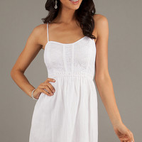 Short White Spaghetti Strap Casual Dress