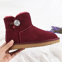 UGG Couple Diamond Buckle Mid-Cut Snow Boots Shoes