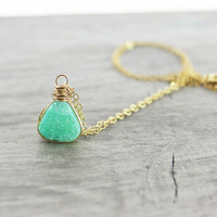 Green Druzy Necklace, Druzy Quartz Necklace, Triangle Pendant Necklace, Geometric Necklace, Druzy Gemstone Necklace, Gold Fill Necklace