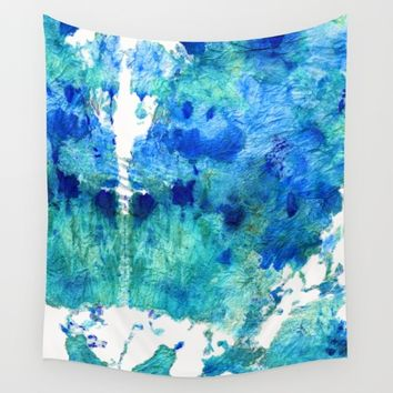 Blue And Aqua Abstract - Wishing Well - Sharon Cummings Wall Tapestry by Sharon Cummings