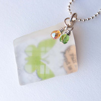 Green Butterfly Recycled Glass Necklace, Seaglass, Gifts under 20