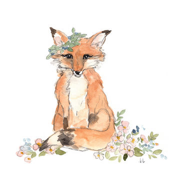 Watercolor Fox Print