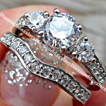 Solid .925 Sterling Silver 18K White Gold overlay Round cut Simulated White Sapphire Engagement Ring Wedding Band Set Women's sz 4,5,6,7,8,9
