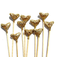 10 Gold Glitter Origami Heart Cupcake Toppers - Birthday, Wedding, Engagement Party, Tea Party, Valentines, Anniversary