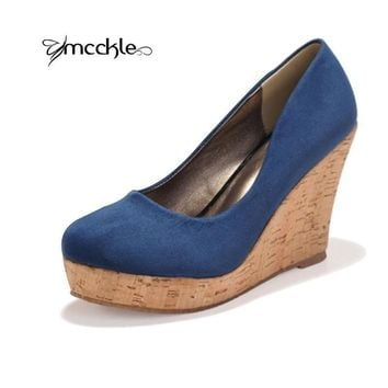 High quality 2016 Classics Brand Genuine Leather Suede Wedges High Heels Platform Round Toe Pumps Women's Shoes Zapatos Mujer