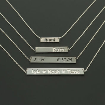 Personalized Bar Necklace - Custom Nameplate Fonts, Sizes, Metals, Finishes, Chains. Double Sided Engraving. Holiday Jewelry Gifts for Her