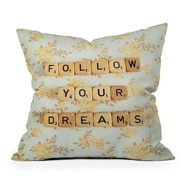 Happee Monkee Follow Your Dreams Throw Pillow